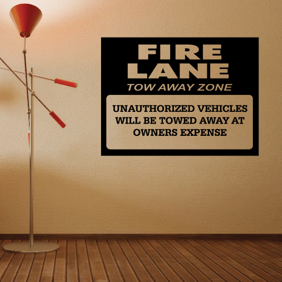 Fire Lane Tow Away Zone Wall Decal - Vinyl Decal - Car Decal - Business Sign - MC90