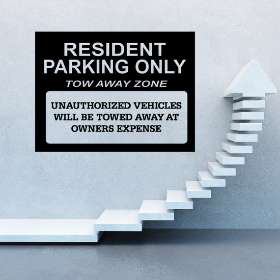 Resident Parking Only Tow Away Zone Wall Decal - Vinyl Decal - Car Decal - Business Sign - MC109