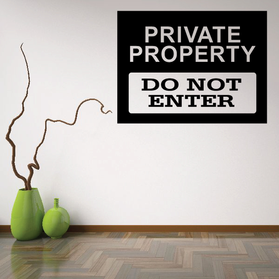 Private Property Do Not Enter Wall Decal - Vinyl Decal - Car Decal - Business Sign - MC111