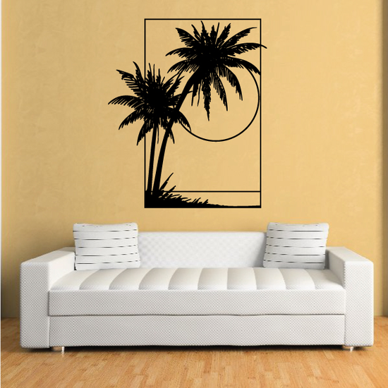 Palm Trees And Sunset Wall Decal - Vinyl Decal - Car Decal - Business Sign - MC113