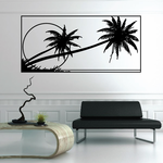 Palm Trees And Sunset Wall Decal - Vinyl Decal - Car Decal - Business Sign - MC114