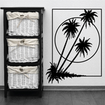 Palm Trees And Sunset Wall Decal - Vinyl Decal - Car Decal - Business Sign - MC116