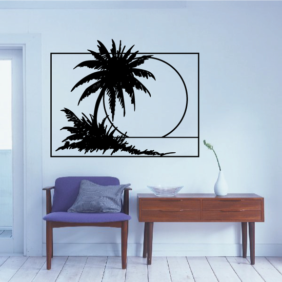 Palm Trees And Sunset Wall Decal - Vinyl Decal - Car Decal - Business Sign - MC117