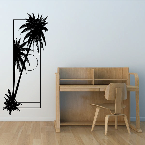 Palm Trees And Sunset Wall Decal - Vinyl Decal - Car Decal - Business Sign - MC118