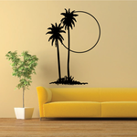 Palm Trees And Sunset Wall Decal - Vinyl Decal - Car Decal - Business Sign - MC122