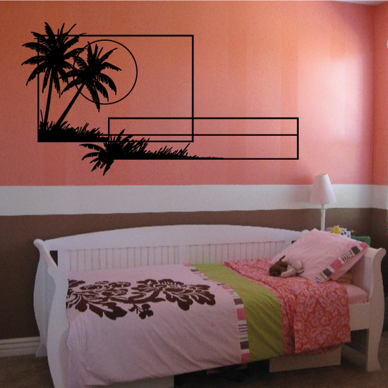Palm Trees And Sunset Wall Decal - Vinyl Decal - Car Decal - Business Sign - MC124