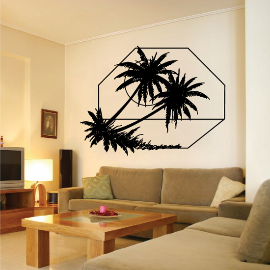 Palm Trees And Sunset Wall Decal - Vinyl Decal - Car Decal - Business Sign - MC126