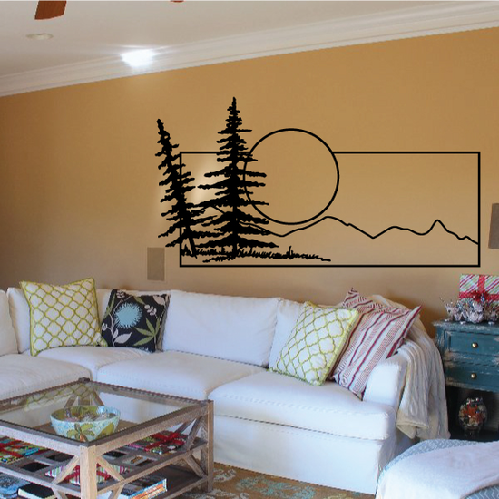 Pine Trees And Sunset Wall Decal - Vinyl Decal - Car Decal - Business Sign - MC127