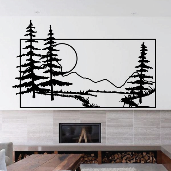 Pine Trees And Sunset Wall Decal - Vinyl Decal - Car Decal - Business Sign - MC128