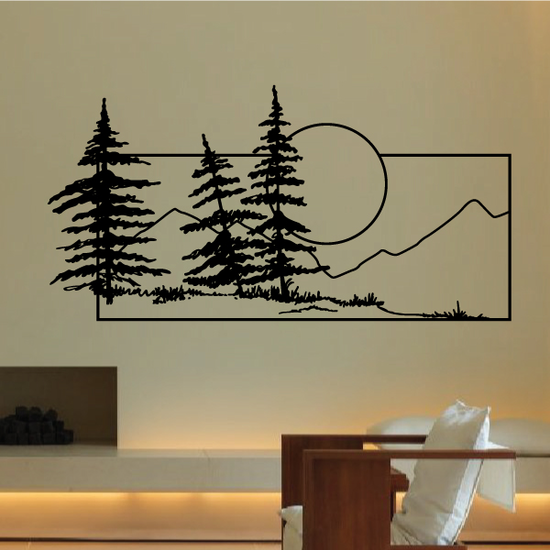 Pine Trees And Sunset Wall Decal - Vinyl Decal - Car Decal - Business Sign - MC130