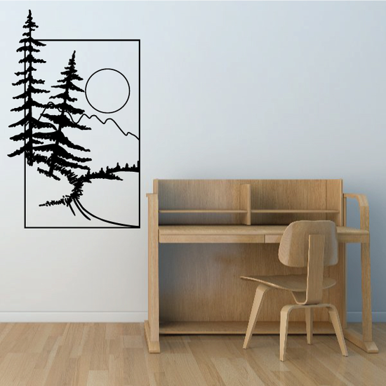 Pine Trees And Sunset Wall Decal - Vinyl Decal - Car Decal - Business Sign - MC133