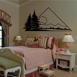 Pine Trees Pyramid And Sunset Wall Decal - Vinyl Decal - Car Decal - Business Sign - MC134
