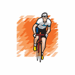 Cool Cyclist with Abstract Background Sticker