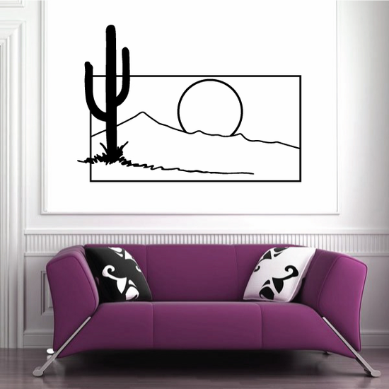 Cactus And Sunset Wall Decal - Vinyl Decal - Car Decal - Business Sign - MC138