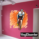 Cyclist and Abstract Background Sticker