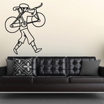 Biker Carrying Bicycle Walking Decal