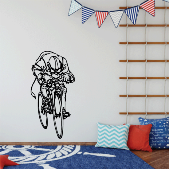 Athlete on Bicycle Triathlon Decal