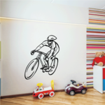Bicyclist Racer Wearing Helmet on Bicycle Decal