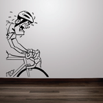 Cartoon Sweaty and Determined Cyclist Decal