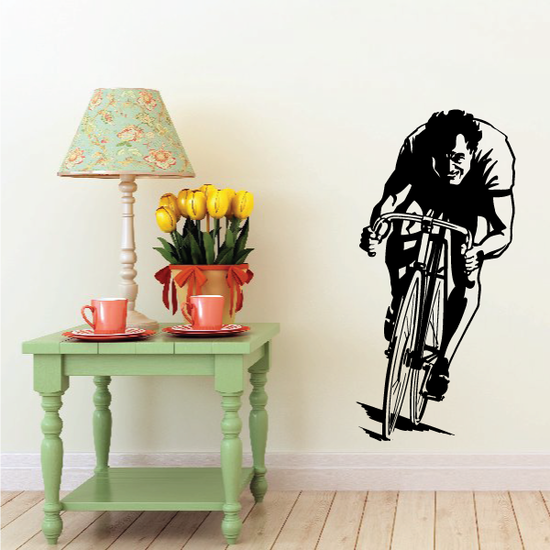 Frontal Determined Cyclist Decal
