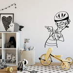 Suave and Cool Cartoon Cyclist Decal
