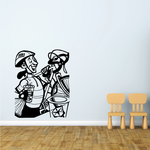 Helmet Cyclist Carrying Bike and Drink Decal