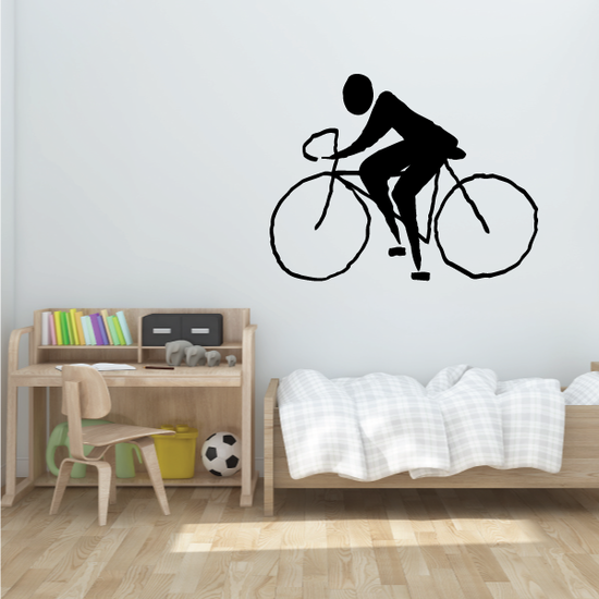 Wiggly Style Cyclist Decal