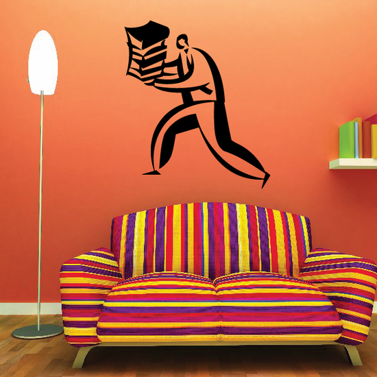 Man Carrying Books Wall Decal - Vinyl Decal - Car Decal - Business Decal - MC15