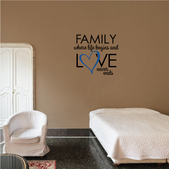 Family Where life beings and love never ends Wall Decal