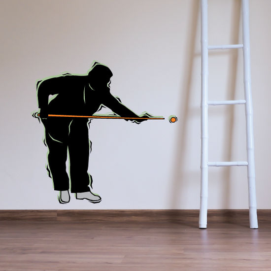 Billiard Player Leaning Over to Hit Decal