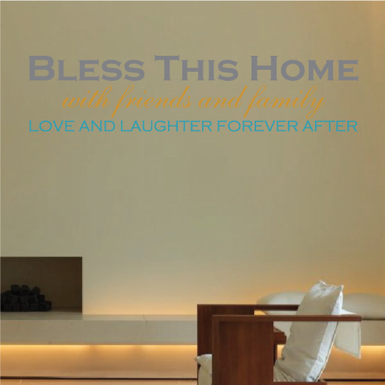 Bless This Home Printed Die Cut Wall Decal