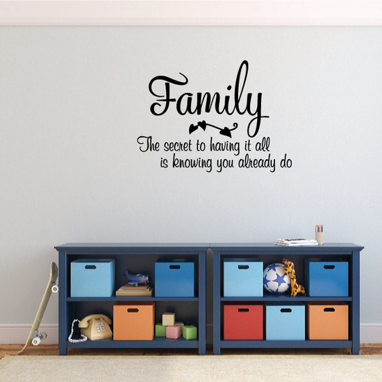 Family The Secret to having it all is know you already do Wall Decal