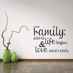 Familiy Where Life Begins and Love Never Ends Wall Decal