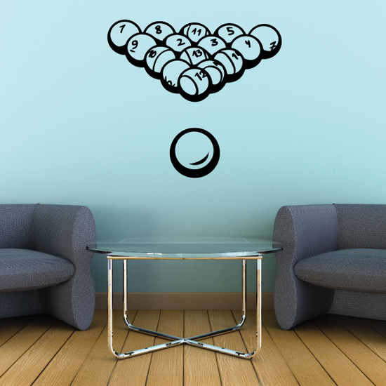 Billiards Arranged Solid and Stripe Balls Decal