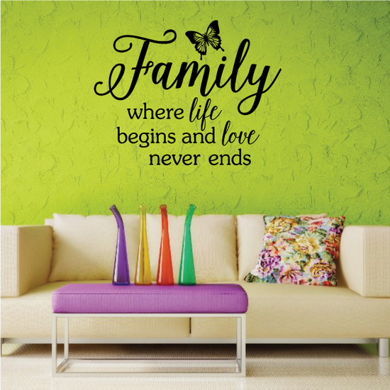 Family Where life begins and love never ends wall Decal