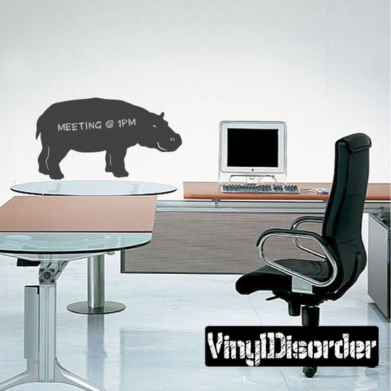 Hippo Smiling Chalkboard Decal