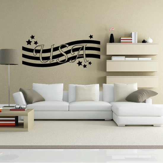 USA Waving Stars and Stripes Decal