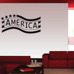 America Text Flag Decal