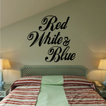 Red White and Blue Script Text Decal