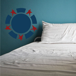 Patriotic Stars and Circle Printed Die Cut Decal