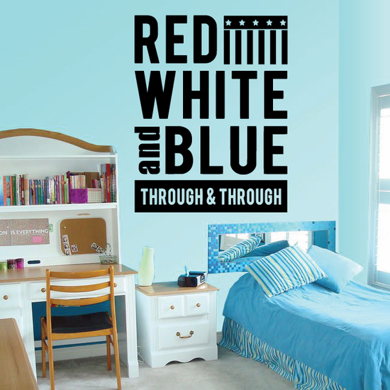Red White and Blue Through and Through Wall Decal