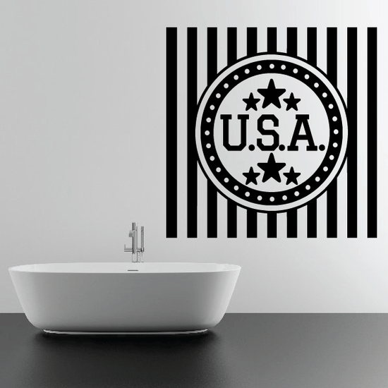 USA Circle Stars and Stripes Decal