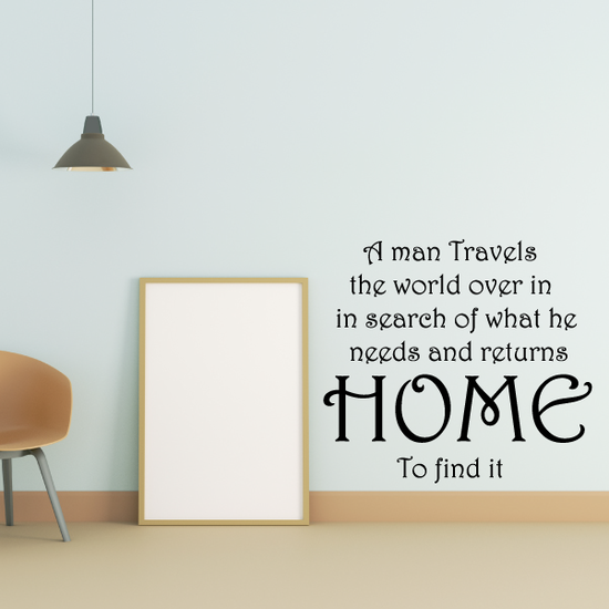 A man travels the world over in search of what he needs and returns home to find it Wall Decal