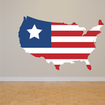 America Flag United States Shaped Star Flag Printed Die Cut Decal