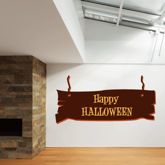 Happy Halloween Plank Sign Sticker