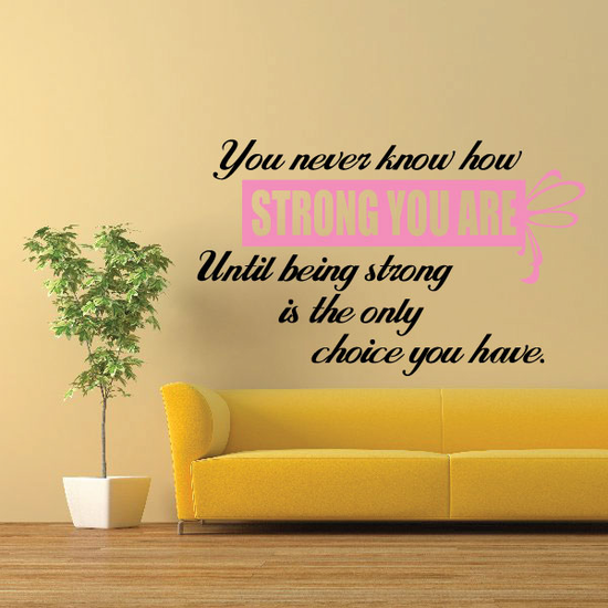 You never know how strong you are until being strong is the only chance you have Quote Printed Die Cut Decal