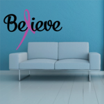 Believe Awareness Ribbon Printed Die Cut Decal