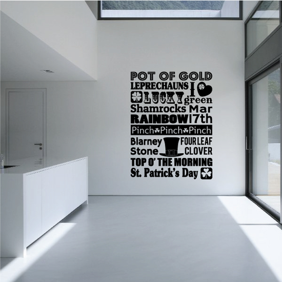 Pot of Gold St Patricks Day Typography Decal