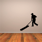 Janitor With Large Push Broom Decal