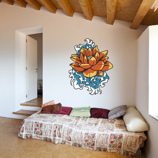 Japanese Floral Lilly Pad Wall Decal - Vinyl Car Sticker - Uscolor001